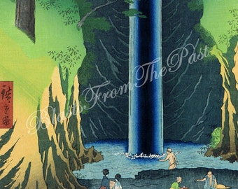 HIROSHIGE 'One Hundred Famous Views of Edo' Print -- 'Fudo Falls in Oji' c.1857, Perfect for Framing, Japan, Asia, Zen, Deep Blue, Waterfall