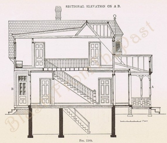 Items similar to 1885 antique architectural drawings pl for Cheap architectural drawings