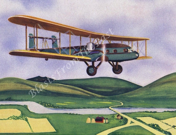 Vintage AIRPLANE Print 'Curtiss Condor', Beautifully Illustrated, Amelia Earhart, Wright Brothers, Nursery, Kids Room, Man Cave