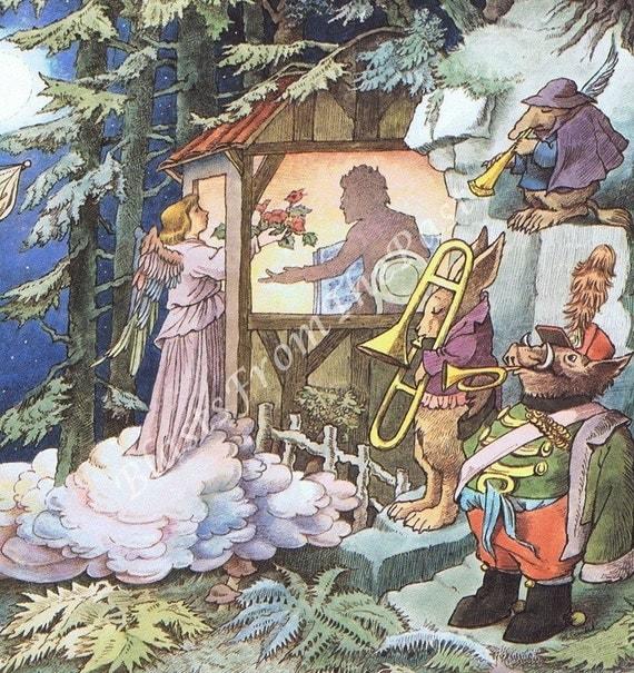 MAURICE SENDAK Large Poster Print, Music in the Park, Angel, Horn, Trumpet, Nursery Decor, Kids Room, Adorable, Mahler's Third Symphony