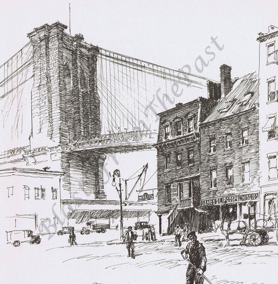 Vintage NEW YORK Sketch 'Brooklyn Bridge Tower', Beautifully Illustrated, Perfect for Framing, Roaring 20s
