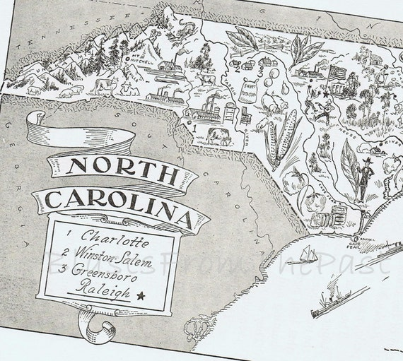 Vintage MAP of NORTH CAROLINA Vintage print -- Whimsical, Adorable, Beautifully Illustrated, Perfect for Framing, Raleigh, Charlotte