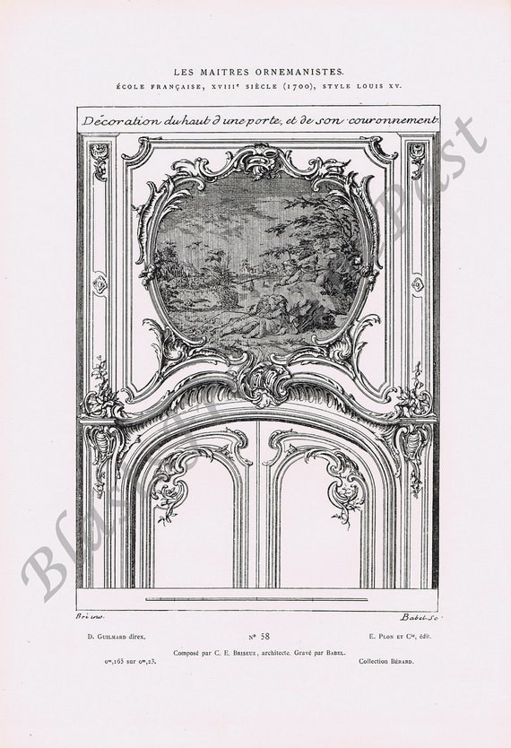 1880 Antique LES MAITRES Ornemanistes Pl 58 Engraving, D Guilmard, Collection Berard, Louis XV Style, Architecture