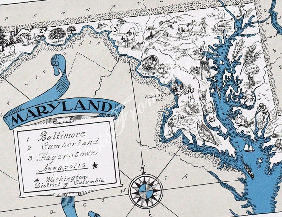 MARYLAND Vintage Map, Perfect for Framing, Adorable, Beautifully Illustrated, Fun, Funky, Whimsical, Atlas, Charming