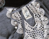 Whimsically indulgent - Heather gray tunic, antique applique, flutter sleeves - Large