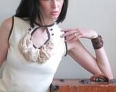 A querulous romantic - gathered silk ruffle shirt, buttons, keyhole - small