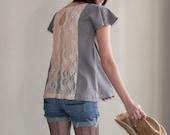Grey Skies - loose cotton tunic, apricot lace back - small medium large