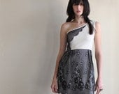 Lace dress - vintage style with one shoulder cut, ivory jersey and black lace - small medium large