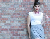 Grey origami petal skirt - vintage style super cute mini for women - LAST CHANCE