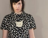 Cat shirt - button up, peter pan collar, vintage inspired - small LAST ONE