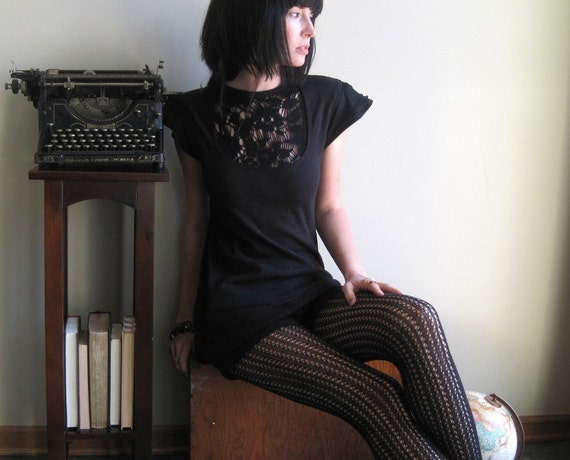 Intricate black lace tunic with cut outs and flutter sleeves - medium