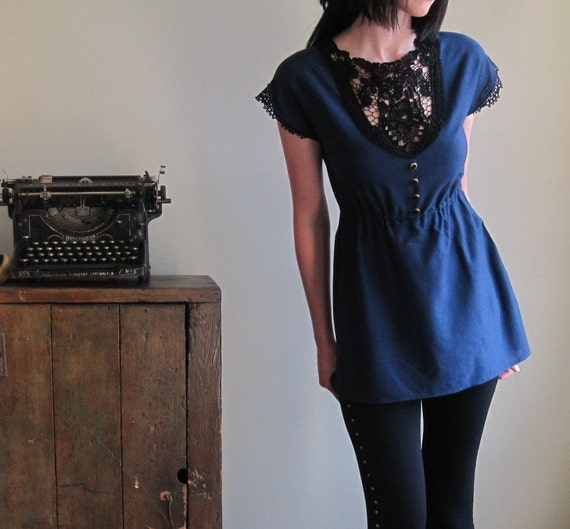 Ocean blue nautical shirt - navy and black lace tunic with applique and buttons, vintage bohemian style - small