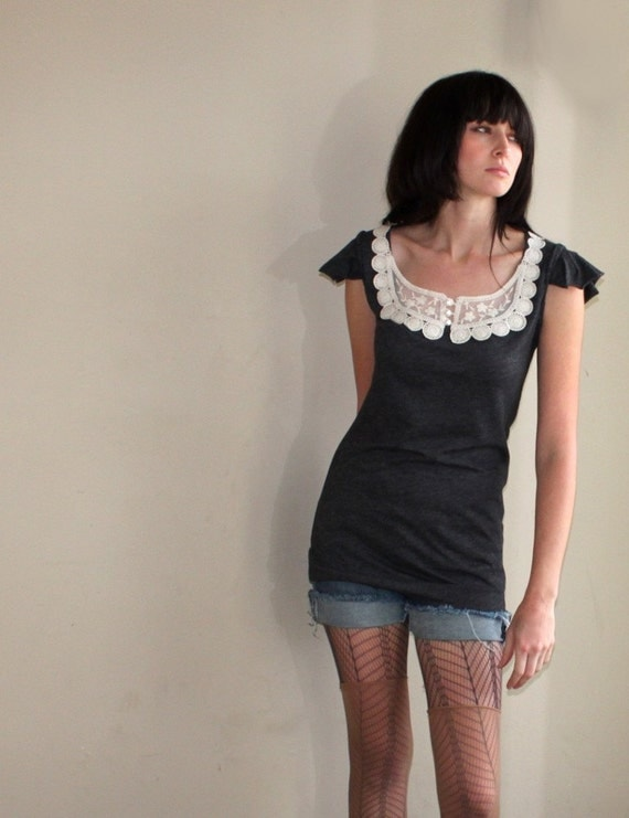 Paris Afternoon - lace bib tunic, modern vintage - small