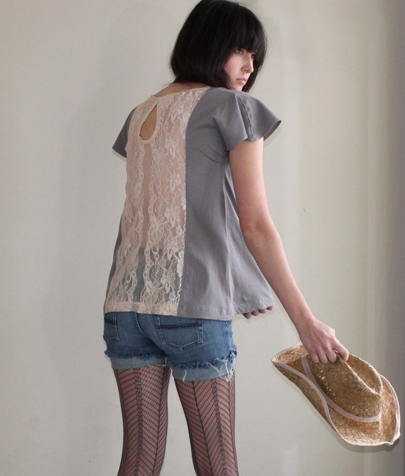 Grey Skies - loose cotton tunic, apricot lace back - small medium large