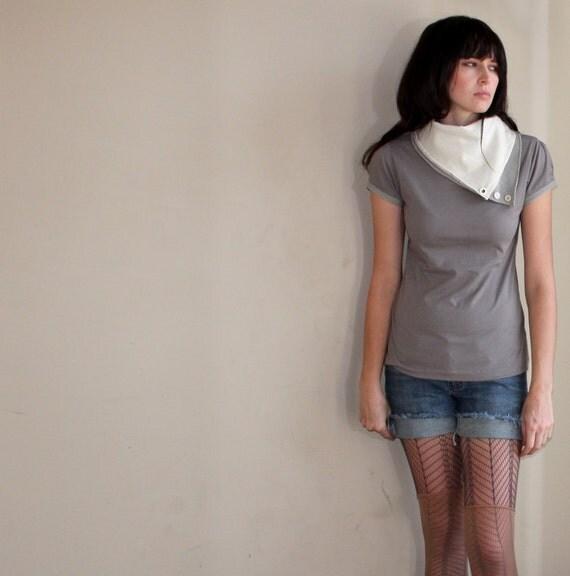 Aviator flight shirt - grey jersey scarf cowl - small medium large