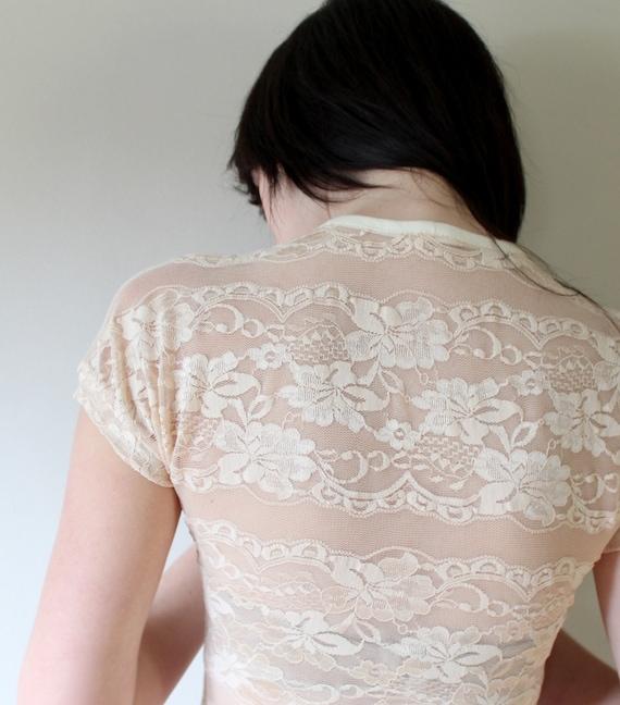 English Lace - sheer v-neck shirt - small
