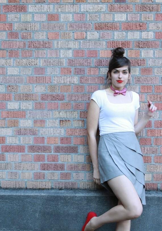 Grey origami petal skirt - vintage style super cute mini for women - LAST CHANCE
