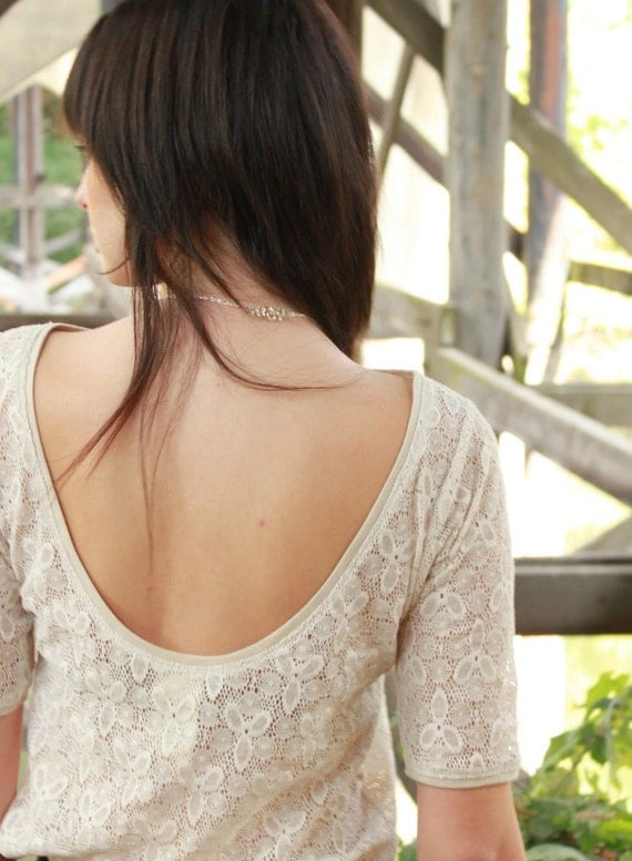 Scoop back lace blouse - rustic sheer antique ivory lace, vintage bohemian style - small