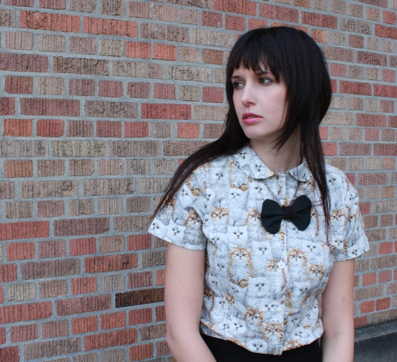 Cat shirt - button up, peter pan collar, vintage inspired - small