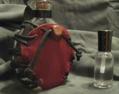 Red Flat Leather Wrapped Bottle