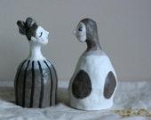 "Porcelain bell 20   ""Protecting eggs""  OOAK hand built sculpture"