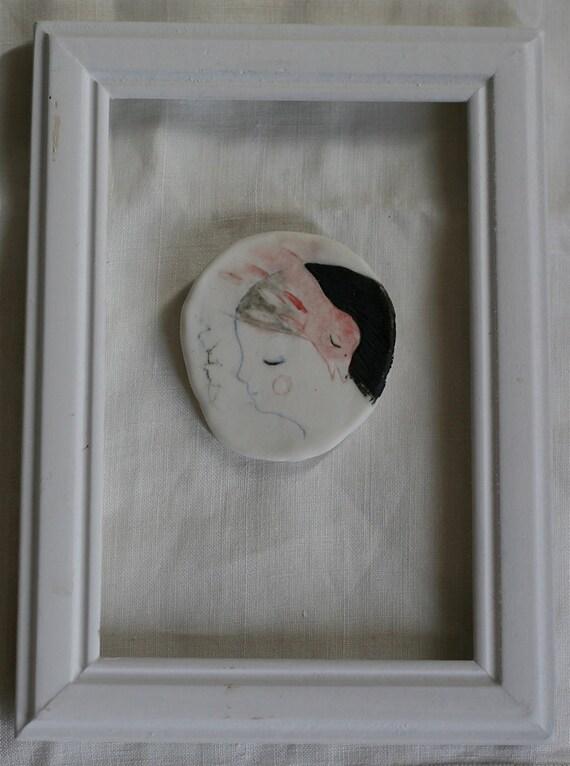 """Handmade hand painted wall piece 3 : """"Red Bird""""  OOAK brooch"""