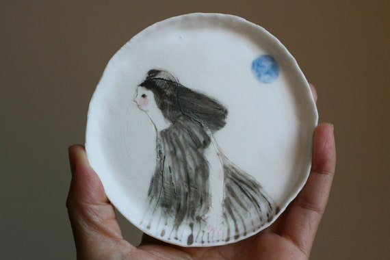 "RESERVED : Handmade Porcelain dish 7  ""That night with blue moon""  original painting"