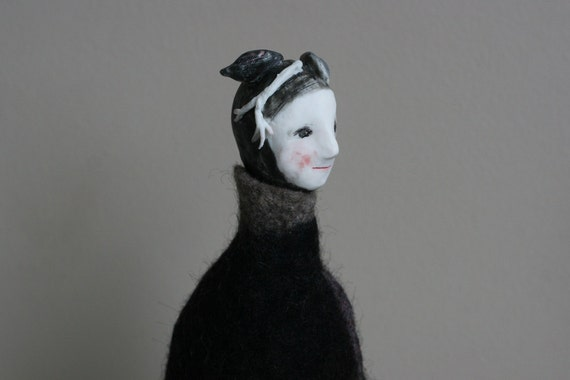 """RESERVED //  LAYBY 1 of 2 :  Felt sculpture 7  """"Standing in a black robe""""  handmade porcelain fibre doll"""