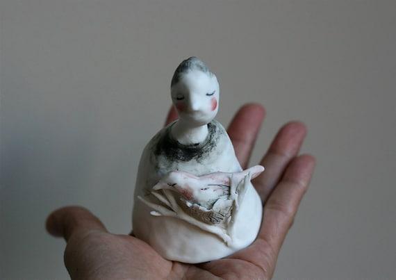 I am a bird nest - Porcelain bell 36   handmade ooak sculpture