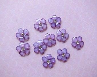 10 pcs Purple Cherry Blossom Glitter Flower Flatbacks Cabochon w/Rhinestones