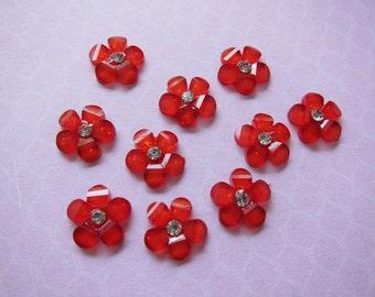 10 pcs Red Cherry Blossom Glitter Flower Flatbacks Cabochon w/Rhinestones