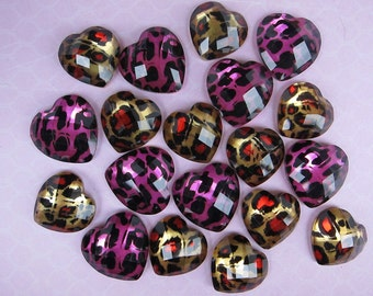 10 pcs Small Cheetah Jewel Heart Cabochons Mix