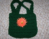 Little girls adorable green color bag, purse, tote with flower hair clip