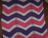 Baby girl afghan pink, white and purple