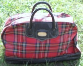 Rare Vintage Peters Red Plaid Fabric Carry On Travel Tote Zip up Doc Bag (20% OFF)