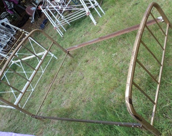Rusty Antique 1900S Simple Ornate Thick Rod Columns Design Steel Full Sized Bed (  20 % DISCOUNTED APPLIED )