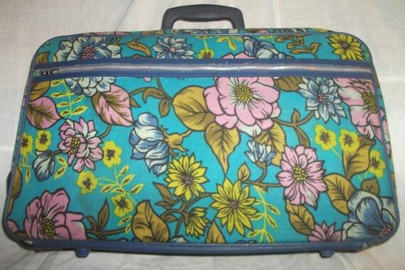 Vintage 70s Mod Colorful Blue Flower Travel Suitcase Tote  Bag
