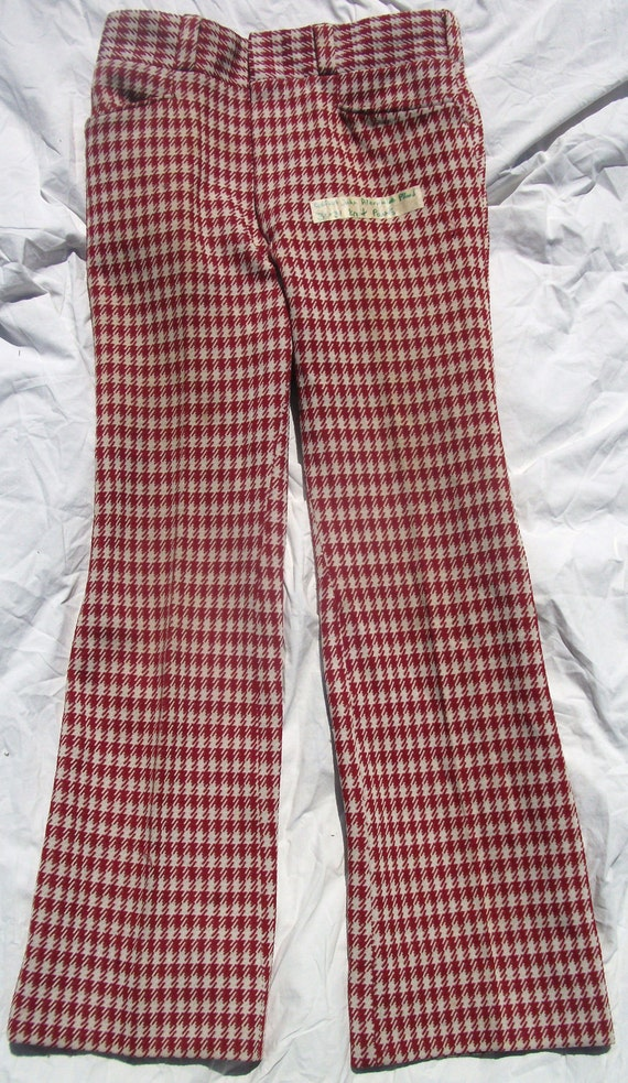 Vintage Perfect John Alexander Red White pattern Plaid 31 x 31 Bell Bottom Knit Pant