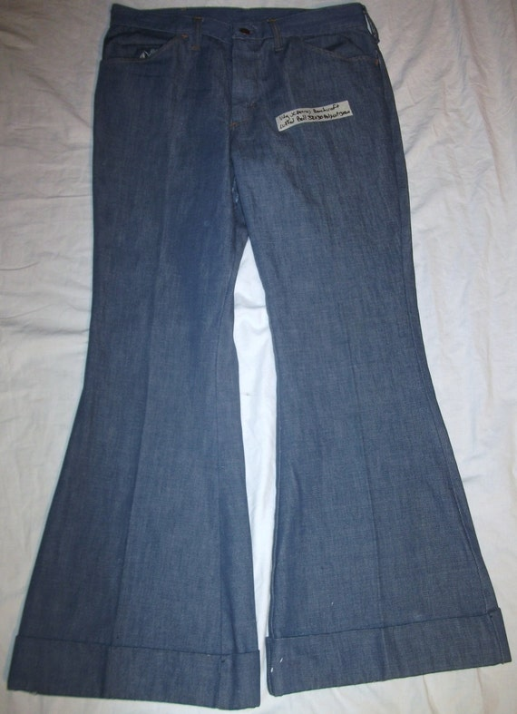 """Vintage Mens Jc Penneys Ranchcraft Blue 12"""" Cuffed Bell Bottom Polycotton 32 x 30 Jean  ( 20% DISCOUNTED)"""