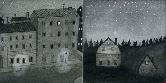 city night / country night mini print set
