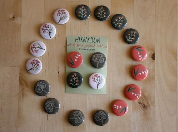 herbarium pinback button set