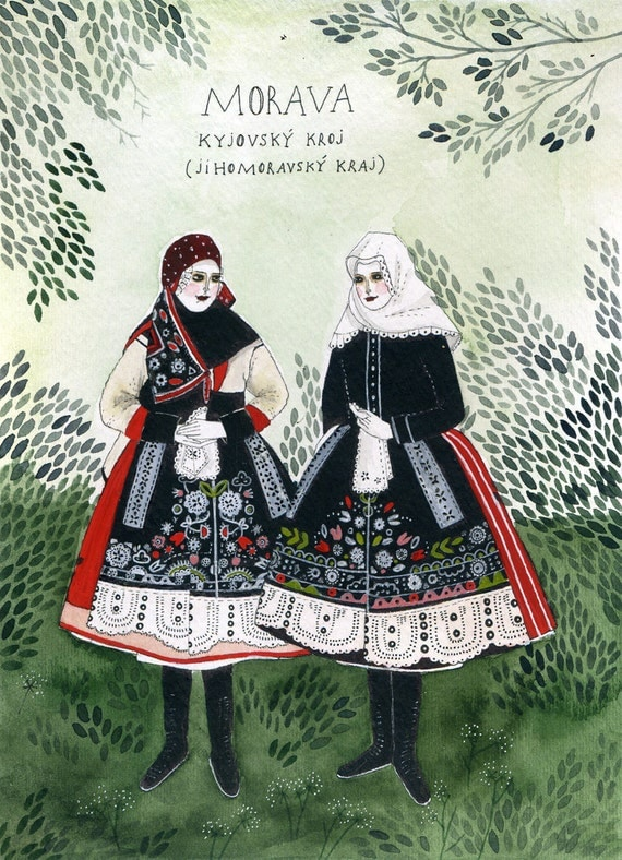 moravian costume original painting