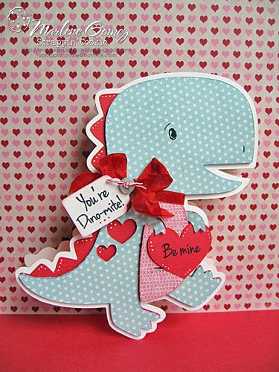 handmade valentine dinosaur shaped card you're dinomite