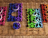 Pink and Purple Plus Peace Sign Light Switch Toggle Cover Plate and 3 Outlets Set includes child safety plugs