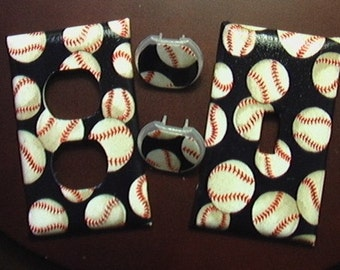 Baseball Set Single Light Switch Plate Cover and Outlet Cover Includes child safety plugs
