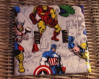 Marvel Avengers Cream or Blue Wolverine Spiderman Hulk Iron Man Captain America Thor Double Toggle Light Switch Cover Plate