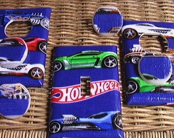 Cars Hot Wheels Set Blue or Black Single Light Switch Toggle Cover Plate and 2 Outlets includes child safety plugs