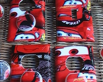 Disney Lightning McQueen Set Single Switch Plate and 3 Outlets Set includes child safety plugs