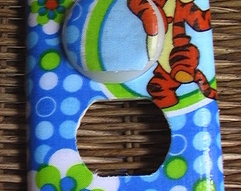 Tigger Outlet Switch Plate Cover with Child Safety Plugs