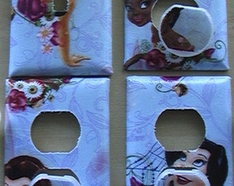 Disney Fairies Set Single Switch Plate and 3 Outlets includes child safety plugs